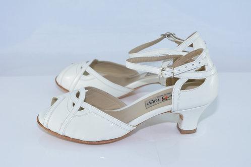 Size 34 White Patent Peep Sandal 4.5cm Heel (N)