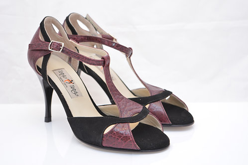 Size 36 Burgundy Imprint and Black Suede Ornate Peep T strap 8cm heel (W)