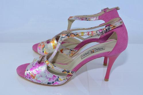 Size 39 Metallic Floral & Suede Asymm 8cm Heel (N)