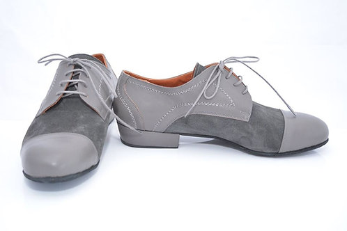 Grey leather and grey suede full suede sole