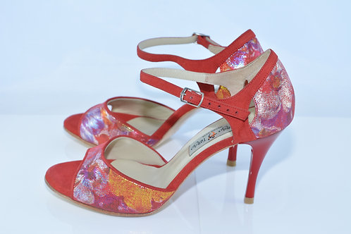 Size 38 Red Floral Suede Band Sandal 8cm Heel (S)