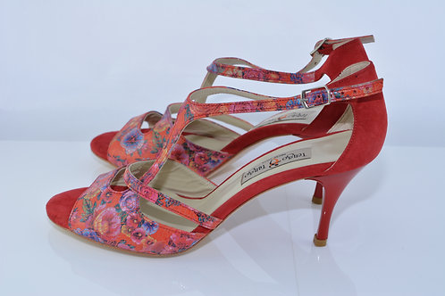 Size 39 Red Floral & Suede Asymm 7cm Heel (N)