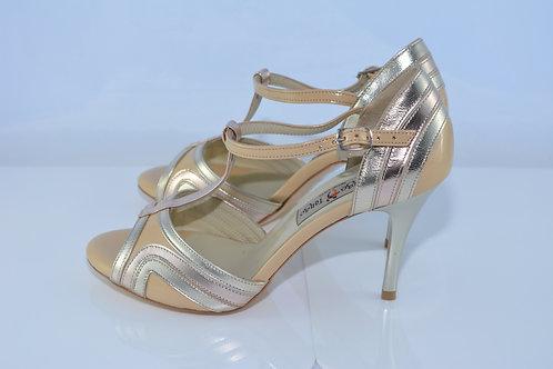 Size 38 Nude Patent Art Deco Peep 8cm Heel (S-W)