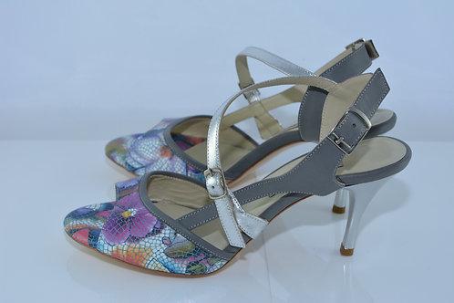 Size 38 Purple Floral & Grey Diagonal Sling 7cm Heel (S-W)