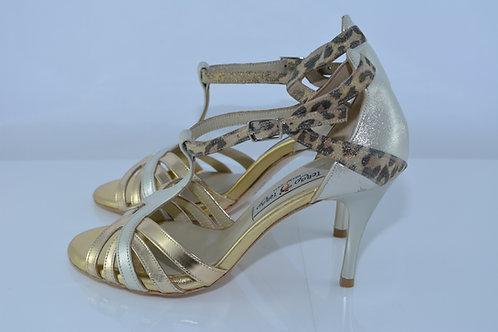 Size 36 Gold Platinum & Cheetah Deco T 8cm Heel (N)