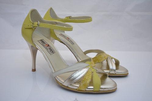 Size 39 Multi Yellow Gold Leafy Peep 8cm heel