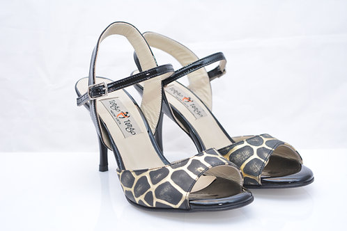 Size 36 Gold Tortoise Imprint and Black Patent Sling 8cm heel (S)