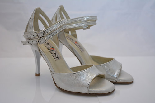 Size 34 Silver Leather Band Sandal Plaited Heel Cage double strap 8cm heel