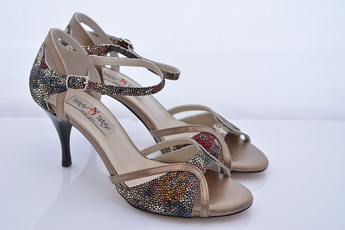 Size 37 Bronze and Rainbow floral print Ornate Band Sandal 7cm heel