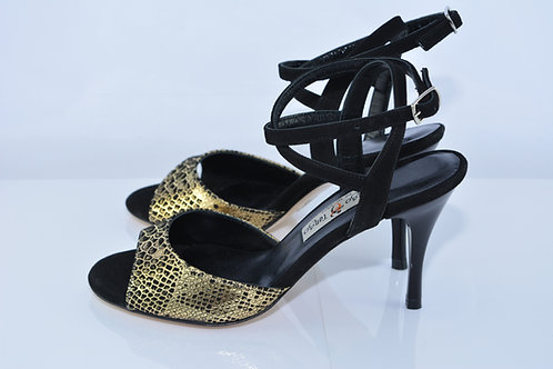 Size 36 Gold Python Wrap Sling 8cm Heel (S)