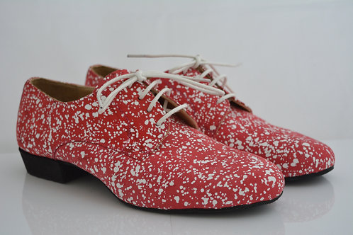Funky Flats Red Suede White Spots with full suede sole
