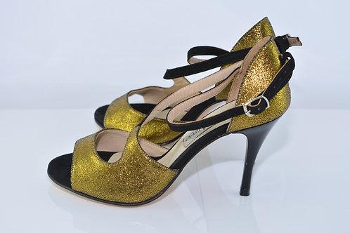 Size 36 Gold Suede Diagonal T 8cm Heel (W)