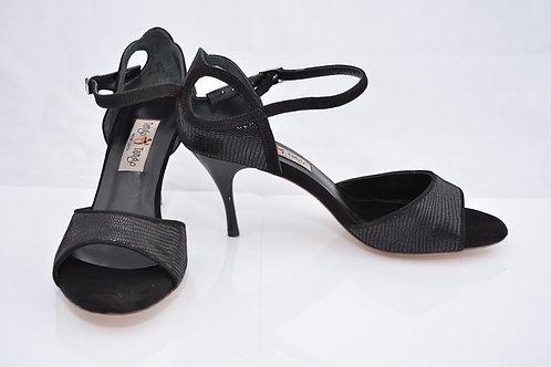 Black micro python and black suede band sandal 7cm heel (S-W)