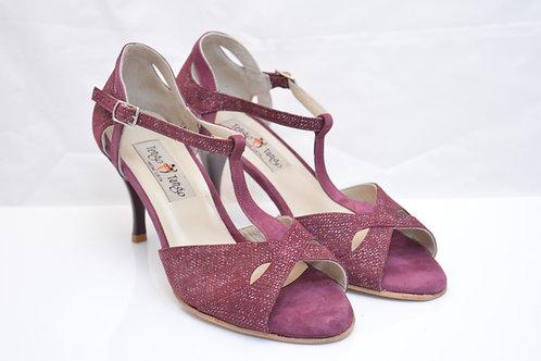 Size 36 Burgundy tweed suede Butterfly Peep T strap 7cm heel