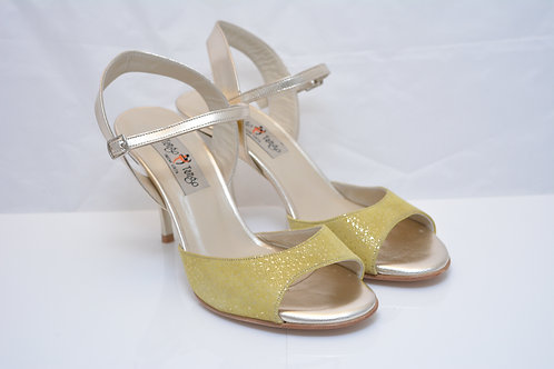 Size 39 Yellow suede Gold flecks Leather Sling 8cm heel