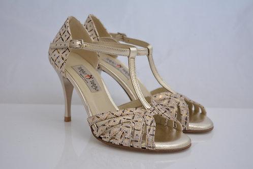 Size 36 Gold, Cream & Bronze Brocade Maze T Strap 8cm heel