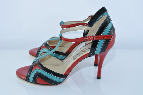 Size 37 Turquoise Red & Black Patent Peep T 8cm Heel (S-W)