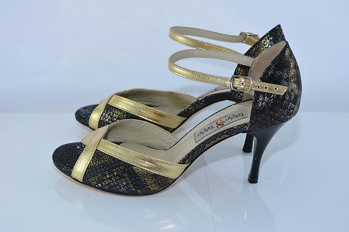 Size 37 Black & Gold Python Peep 7cm Heel (W)