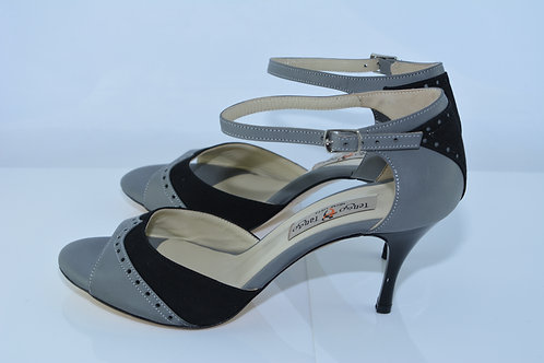 Size 38 Dark Grey & Black Suede Band Sandal 7cm Heel (S)