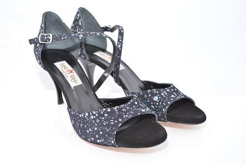 Size 40 Lt Blue Black Suede Diagonal Strap Sandal 7cm Heel (S)