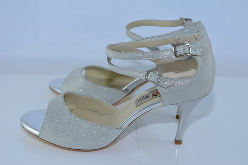 Size 39 Silver Metallic Suede Sandal 7cm Heel (S)