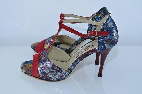 Size 37 Midnight Floral & Burgundy Suede Peep T 8cm Heel (W)