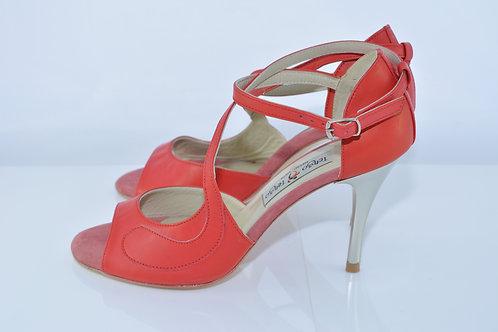 Size 37 Vermillion Swirl Diagonal Band Sandal 8cm Heel (W)