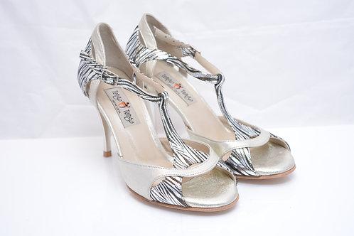 Size 36 Pewter Bamboo print Ornate Peep T strap 8cm heel