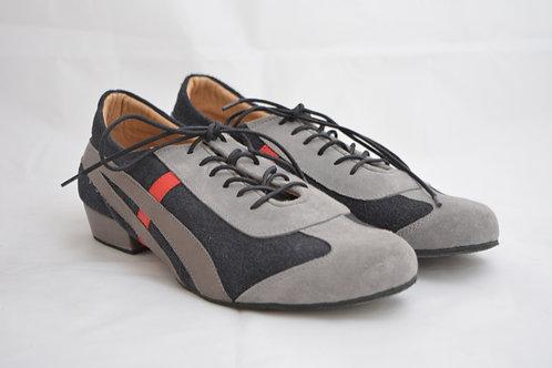 Dark Grey, Light Grey and Red Sneaker split Suede Sole