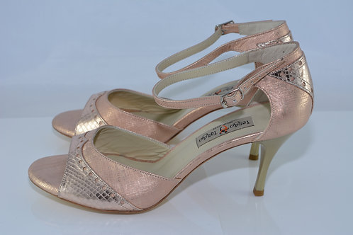Size 40 Rose Gold Ornate Band Sandal 7cm Heel (S)