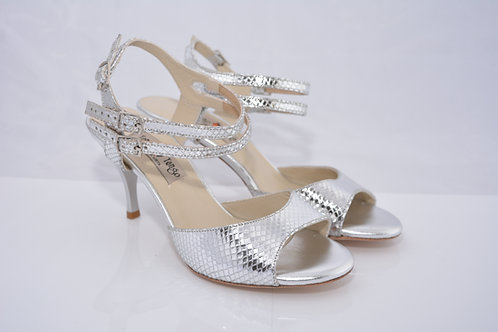 Size 37 Silver python double ankle strap 7 cm heel