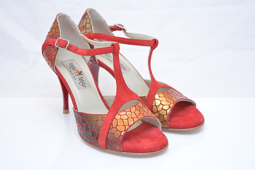 Size 37 Gold scale print and red suede Ornate Peep Tstrap 8cm heel