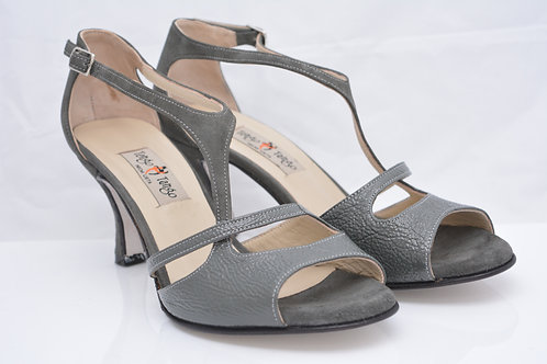 Size 40 Gunmetal Textured and Suede Peep T Strap 7cm heel