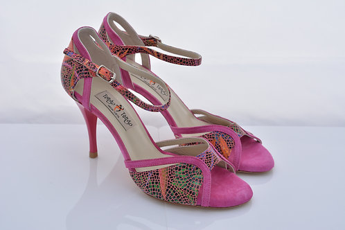 Size 37 Jungle print and Hot pink suede Ornate Band Sandal 8cm heel (W)