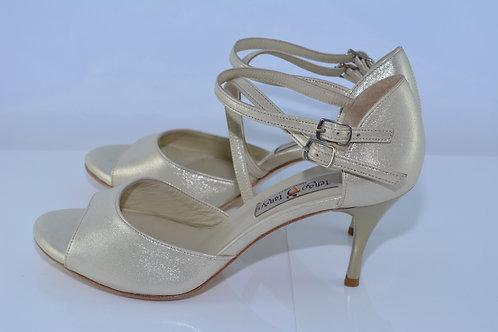 Size 39 Champagne Cross Band Sandal 7cm Heel (S)
