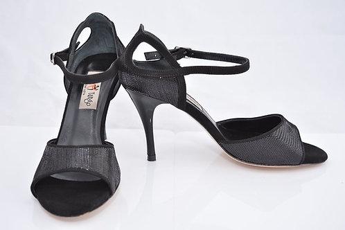 Black micro python and black suede band sandal 8cm heel (S-W)