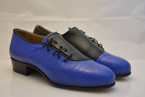 Size 41 Black Kid leather and Electric Blue patent Spats with Leather sole