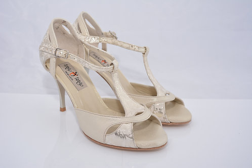 Size 37 Metallic Champagne & Floral Ornate Peep T 8cm Heel (W)