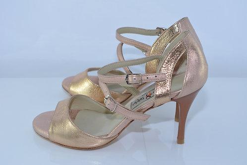 Size 36 Rose Gold Arch Strap Sandal 8cm Heel (S)
