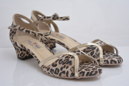 Size 41 LATIN Ornate Peep Leopard & Rose Gold 3.5cm heel