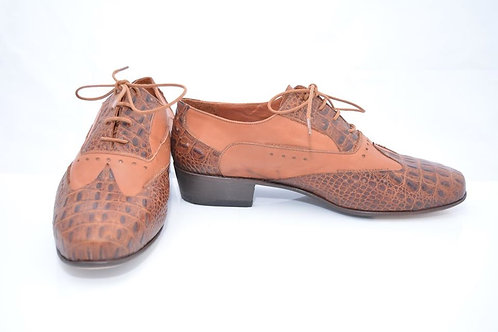 Brown reptile and brown leather classic with full leather sole