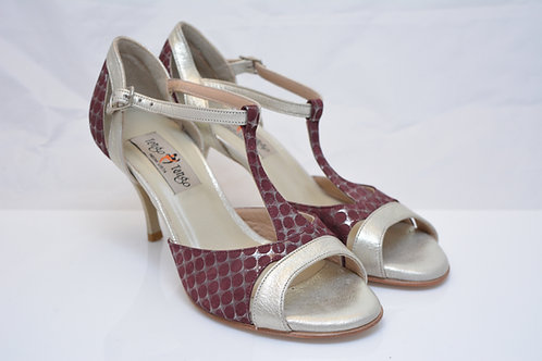 Size 37 Burgundy Polkadot and silver Peep T7cm heel (N)