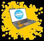 Ноутбук в желтой краске