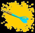 дротик в желтой краске
