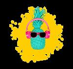 ананас в наушниках и желтой краске