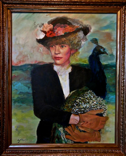(SOLD)Woman with Peacock