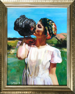 (SOLD)Woman with Chicken