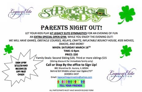 St Patrick's Parents Night Out!