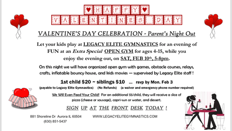 💖Valentines Parents Night Out!! 💘 Saturday2/10/18