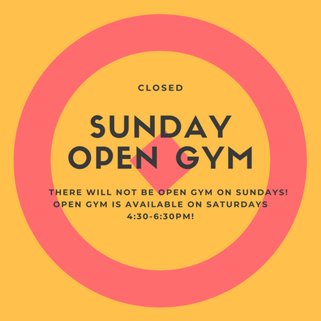 No open gym on Sundays!